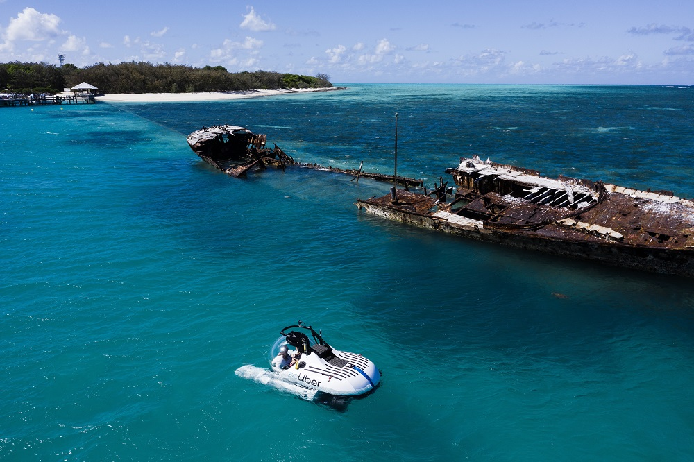 UBER launches the world's first rideshare submarine on the Great Barrier Reef